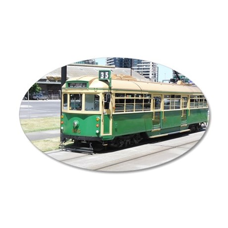 Melbourne Australia Tram 35x21 Oval Wall Decal