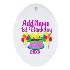 HAPPY 1ST BIRTHDAY Ornament (Oval)