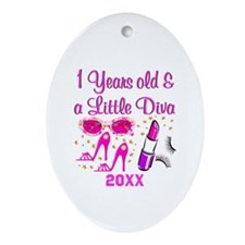1 YR OLD DIVA Ornament (Oval)