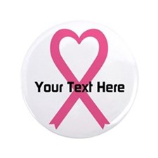 """Personalized Pink Ribbon Hea 3.5"""" Button (10 pack)"""