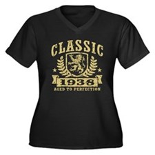 Classic 1938 Women's Plus Size V-Neck Dark T-Shirt