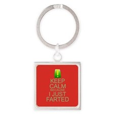 Keep Calm I Farted Square Keychain