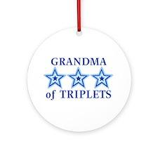 Grandma of Triplets (Boys) Stars Ornament (Round)