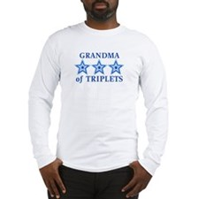 Grandma of Triplets (Boys) Stars Long Sleeve T-Shi