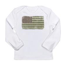 Camo American Flag [Vintage] Long Sleeve Infant T-