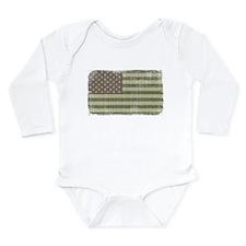 Camo American Flag [Vintage] Long Sleeve Infant Bo