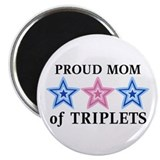 "Mom of Triplets (Boys, Girl) Stars 2.25"" Magnet (1"