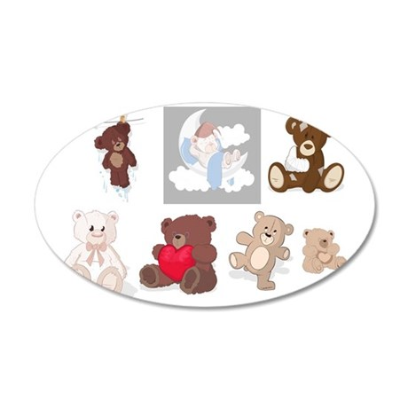 Teddy Bears All Over 35x21 Oval Wall Decal