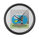 Fishbowl Hard Hat Diver Large Wall Clock