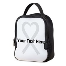 Personalized Pearl Ribbon Heart Neoprene Lunch Bag