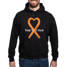 Personalized Orange Ribbon Heart Hoodie