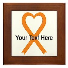 Personalized Orange Ribbon Heart Framed Tile