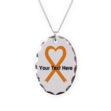 Personalized Orange Ribbon Hea Necklace
