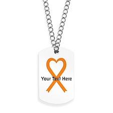 Personalized Orange Ribbon Heart Dog Tags