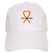 Personalized Orange Ribbon Heart Baseball Cap