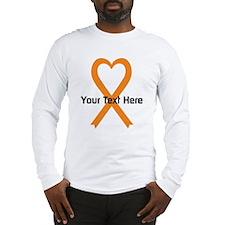 Personalized Orange Ribbon Hea Long Sleeve T-Shirt