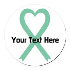 Personalized Light Green Ribbon H Round Car Magnet