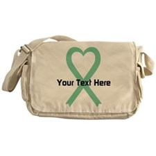 Personalized Light Green Ribbon Hear Messenger Bag