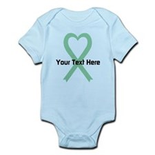 Personalized Light Green Ribbon He Infant Bodysuit