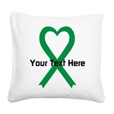 Personalized Green Ribbon Hea Square Canvas Pillow