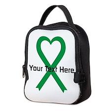 Personalized Green Ribbon Heart Neoprene Lunch Bag