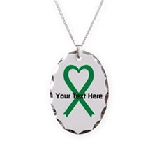 Personalized Green Ribbon Hear Necklace