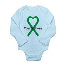Personalized Green Rib Long Sleeve Infant Bodysuit