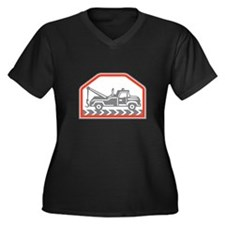 Tow Wrecker Truck Side Retro Plus Size T-Shirt