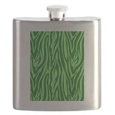 Green Zebra Stripes Flask