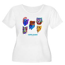 Happy Purim Masks Plus Size T-Shirt