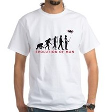 evolution of man controlling drone model T-Shirt