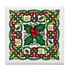 Celtic Garland & Holly Decorative Tile