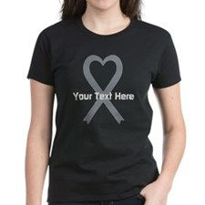 Personalized Gray Ribbon Hear Tee