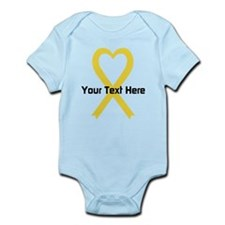 Personalized Yellow Ribbon Heart Infant Bodysuit
