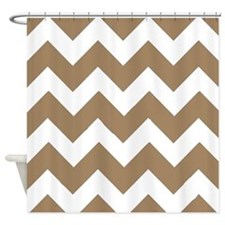 Light Brown and White Chevrons Shower Curtain