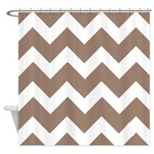 Beaver Brown and White Chevrons Shower Curtain