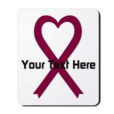 Personalized Burgundy Ribbon Heart Mousepad