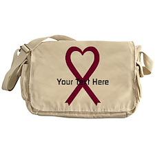Personalized Burgundy Ribbon Heart Messenger Bag