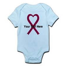 Personalized Burgundy Ribbon Heart Infant Bodysuit