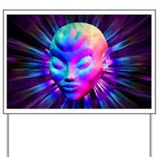 Psychedelic Alien Meditation Yard Sign