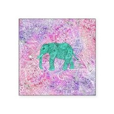 "Teal Tribal Paisley Elephan Square Sticker 3"" x 3"""