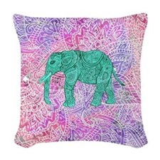 Teal Tribal Paisley Elephant P Woven Throw Pillow