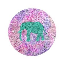 "Teal Tribal Paisley Elephant Purple He 3.5"" Button"