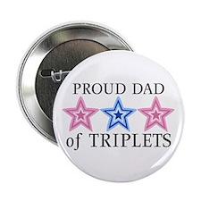 "Dad of Triplets (Girls, Boy) Stars 2.25"" Button (1"