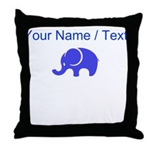 Custom Blue Elephant Throw Pillow
