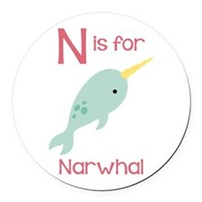 N Is For Narwhal Round Car Magnet