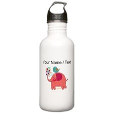 Custom Red Elephant And Bird Water Bottle