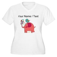 Custom Red Elephant And Bird Plus Size T-Shirt