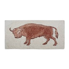 Red Vintage Bull Beach Towel
