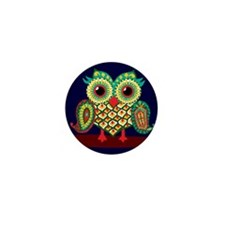 Midnight owl illustrator touch-up Mini Button (100